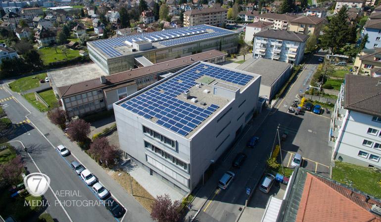 Panneaux solaires photo aérienne drone Prilly - 7Media